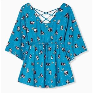 Torrid Disney Animals Blue Babydoll Top - Size 4